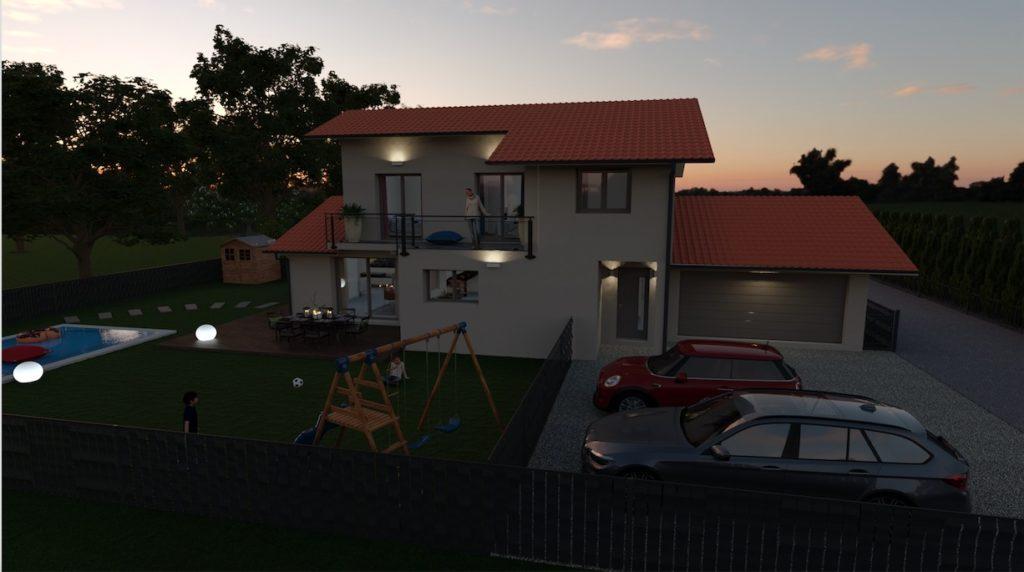 Maisons individuelles neuves à Prévessin-Moëns sunset